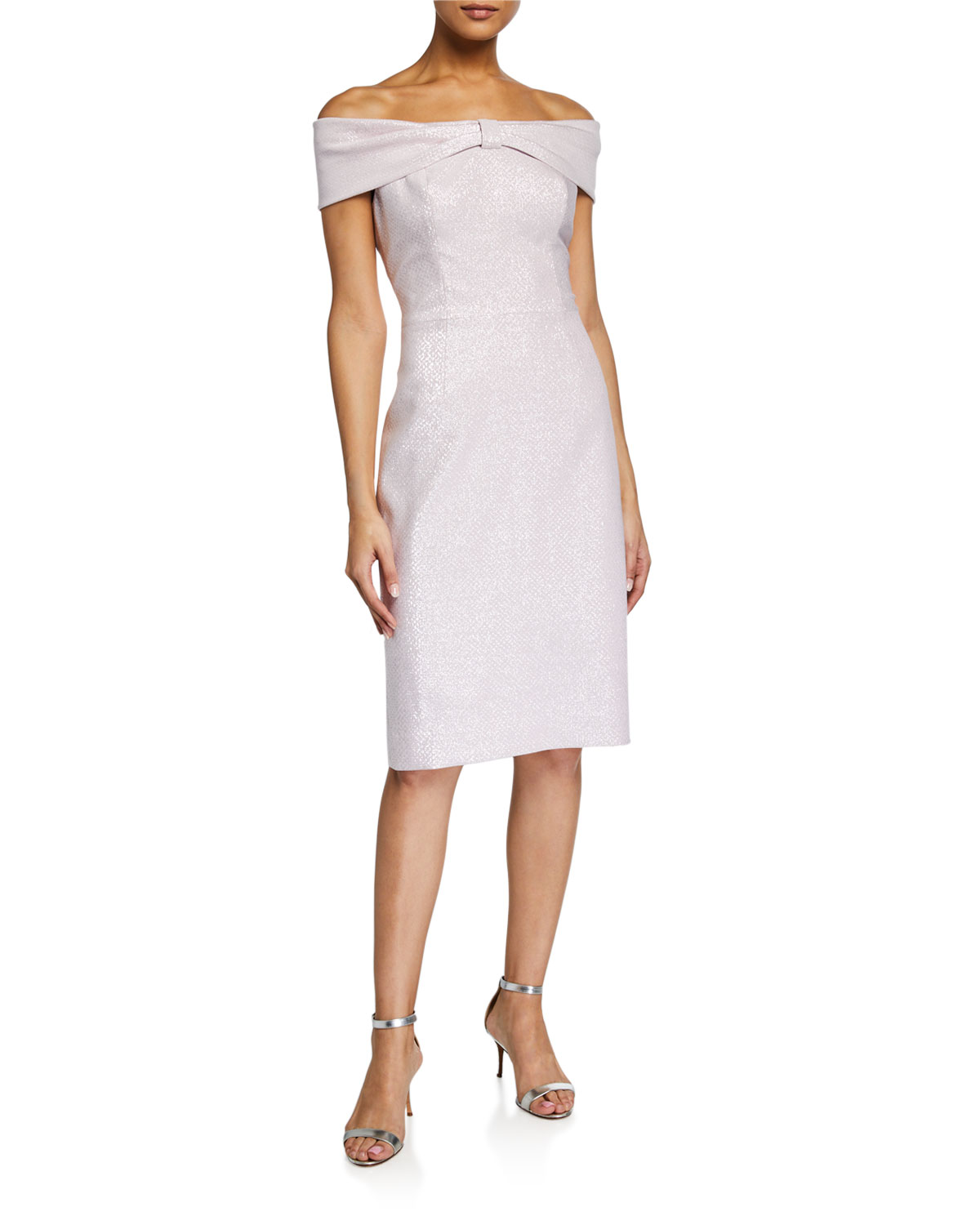 Rickie Freeman for Teri Jon Off-the-Shoulder Bow-Front Stretch Metallic Sheath Dress