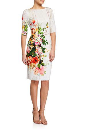 Rickie Freeman for Teri Jon Border Floral Print Elbow-Sleeve Scuba Dress