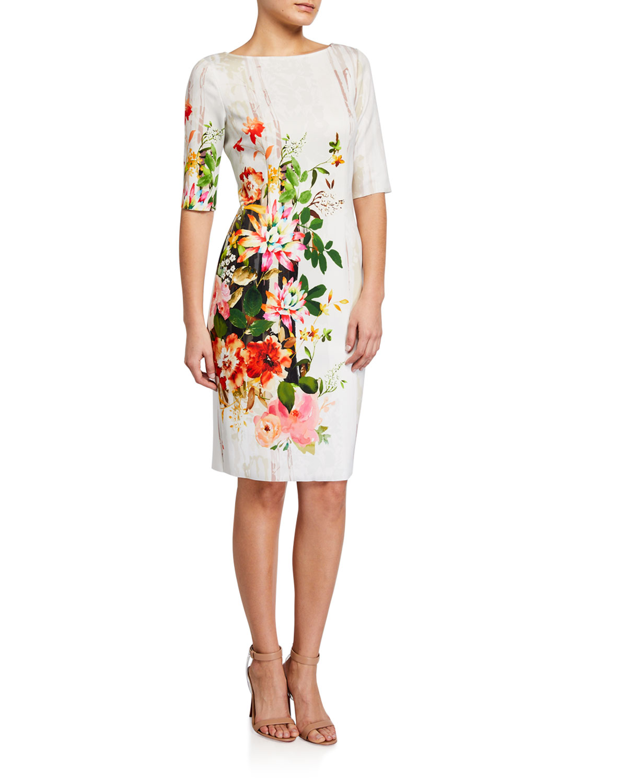 Rickie Freeman for Teri Jon Border Floral Print Elbow-Sleeve Scuba Dress