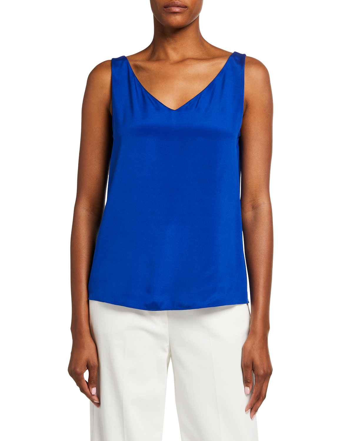 St. John Collection Silk Crepe de Chine V-Neck Shell
