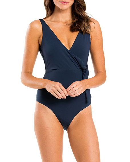 Image 1 of 3: Jetset Wrap One-Piece Swimsuit with Open Back
