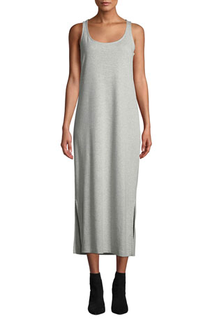 Joan Vass Petite Scoop-Neck Tank Dress with Side Slits