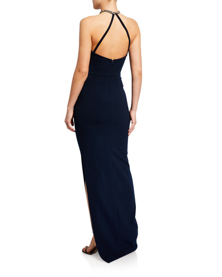 Theia Crepe Halter Gown with Glass Beaded Necklace