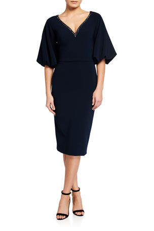 Theia Beaded V-Neck Balloon-Sleeve Crepe Dress