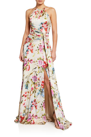 Theia Rose Printed Charmeuse Halter Gown