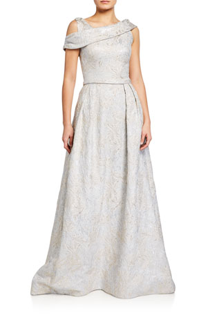 Theia Asymmetrical Cold-Shoulder Tissue Cloque Ball Gown