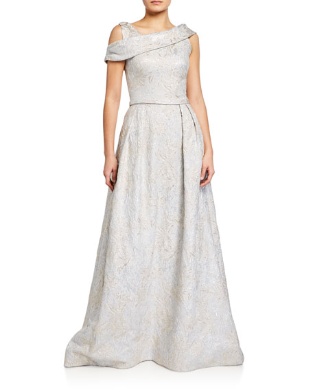 Image 1 of 2: Theia Asymmetrical Cold-Shoulder Tissue Cloque Ball Gown