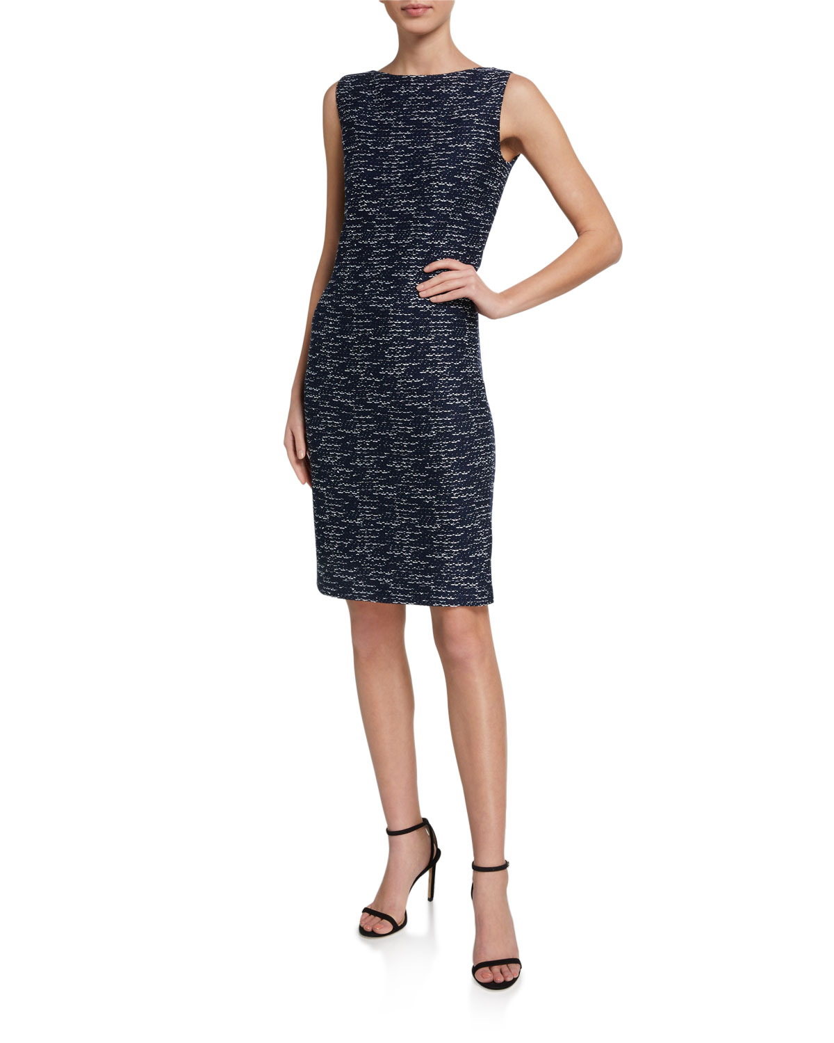 St. John Collection Two-Toned Float-Knit Bateau-Neck Dress