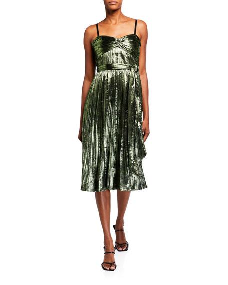 Jonathan Simkhai Strapless Metallic Plisse Short Gown