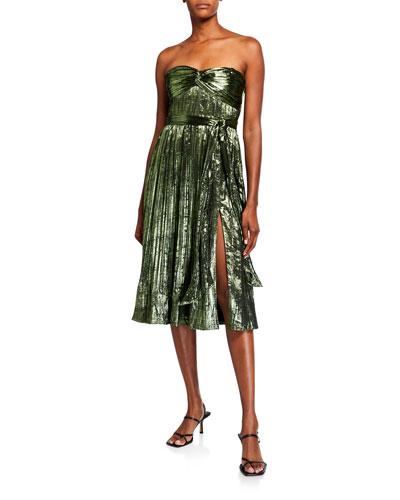 Strapless Metallic Plisse Short Gown