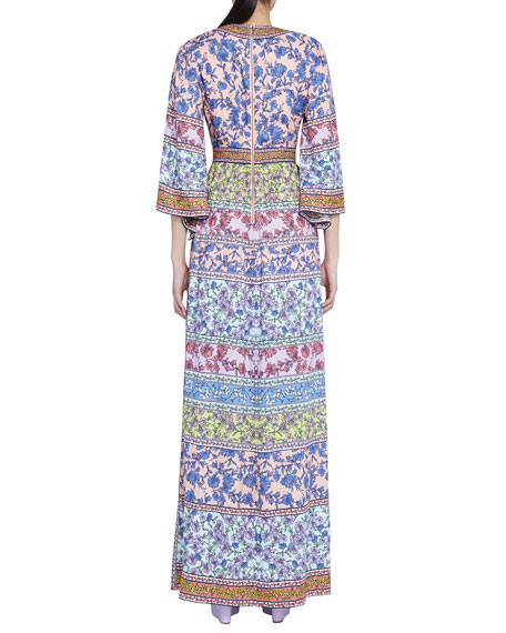Image 2 of 3: Alice + Olivia Lena Embroidered V-Neck Kimono-Sleeve Maxi Dress