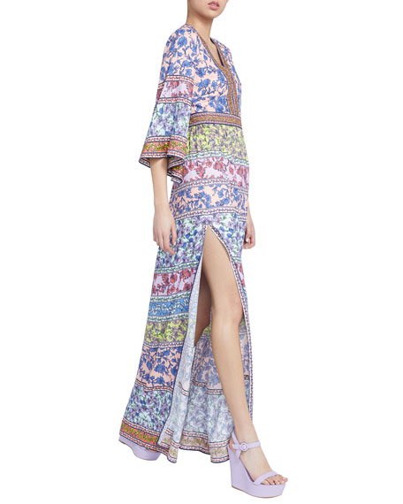 Image 3 of 3: Alice + Olivia Lena Embroidered V-Neck Kimono-Sleeve Maxi Dress