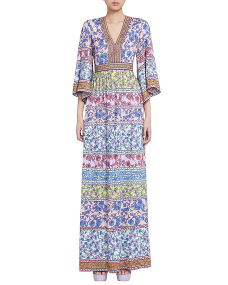 Image 1 of 3: Alice + Olivia Lena Embroidered V-Neck Kimono-Sleeve Maxi Dress