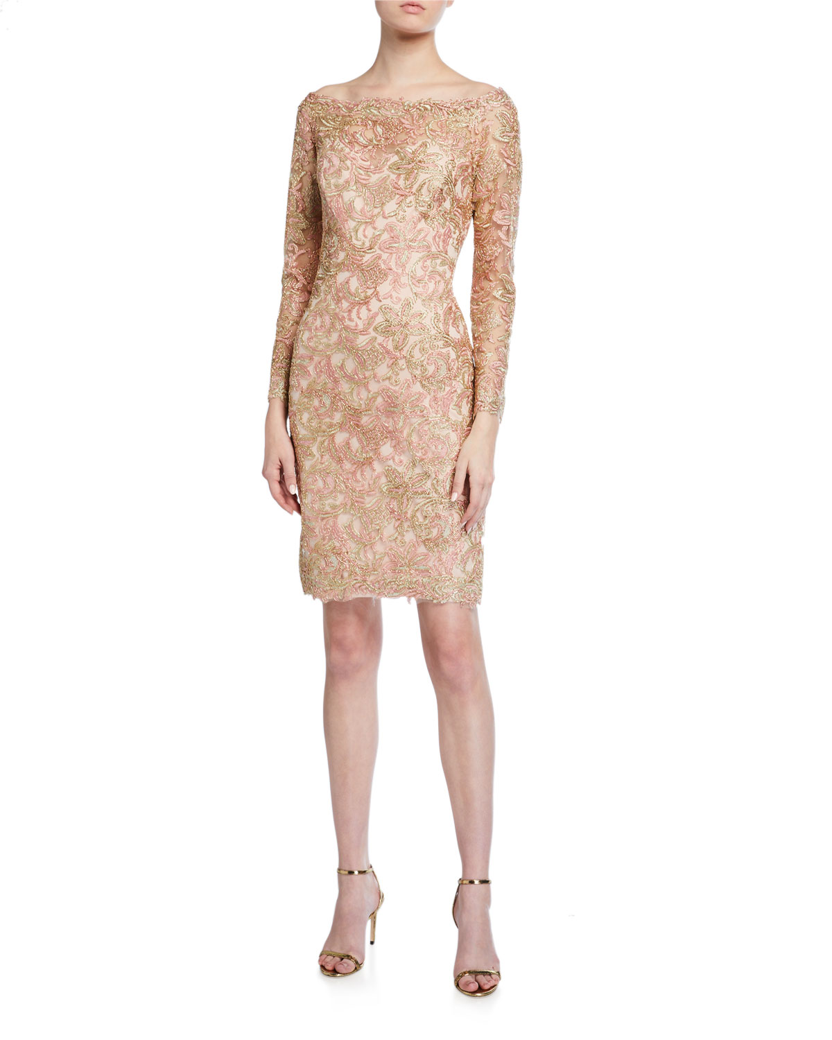 Tadashi Shoji Off-the-Shoulder Long-Sleeve Lace Dress