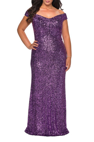 La Femme Plus Size Sequin Off-The-Shoulder Column Gown