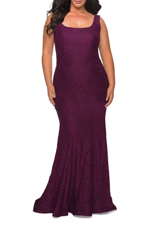 La Femme Plus Size Square-Neck V-Back Sleeveless Lace Gown