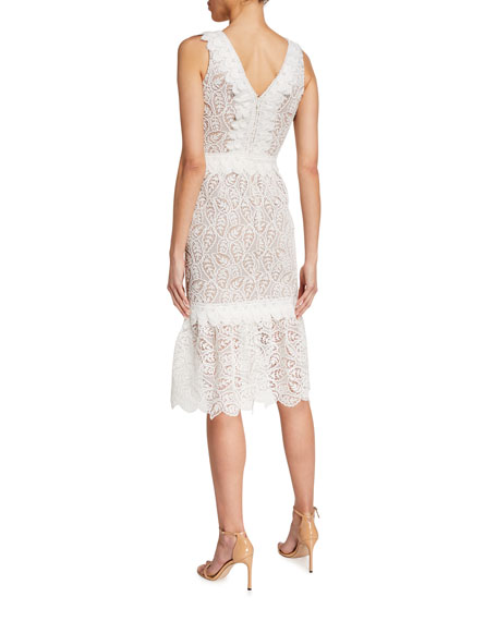 Image 2 of 2: Dress The Population Everleigh V-Neck Sleeveless Flounce-Hem Lace Dress