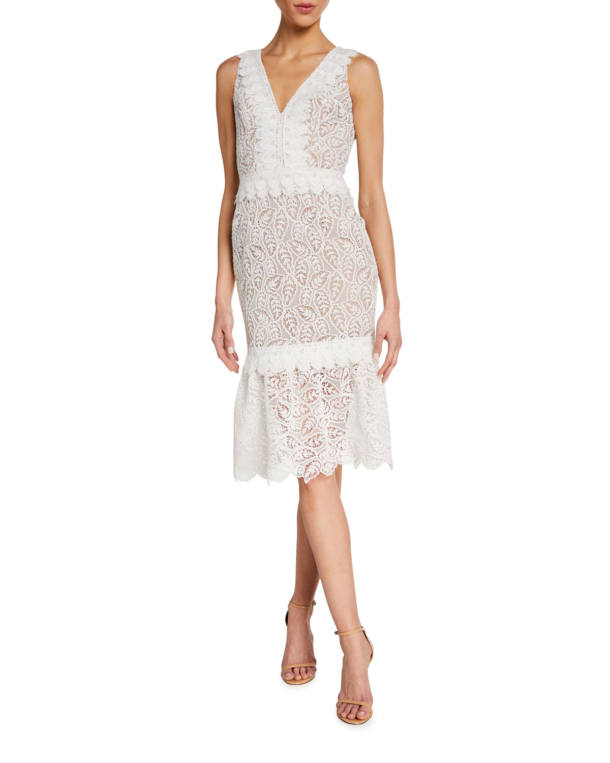 Dress The Population Everleigh V-Neck Sleeveless Flounce-Hem Lace Dress