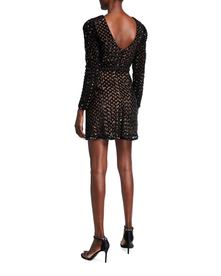 Image 2 of 2: Dress The Population Collins Lattice Sequin Long-Sleeve Sheath Dress