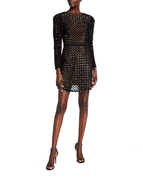 Image 1 of 2: Dress The Population Collins Lattice Sequin Long-Sleeve Sheath Dress
