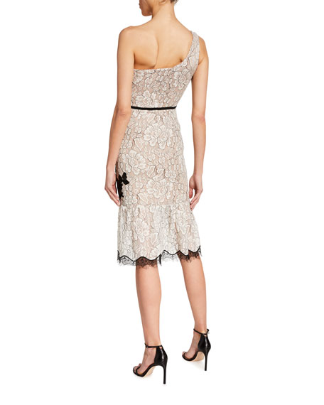 Image 2 of 2: Dress The Population Dallas One-Shoulder Beaded Applique Lace Dress