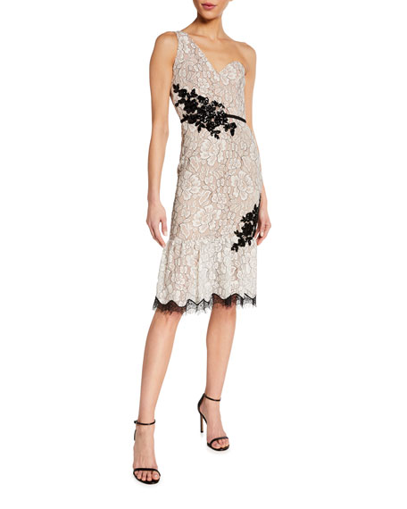 Image 1 of 2: Dress The Population Dallas One-Shoulder Beaded Applique Lace Dress