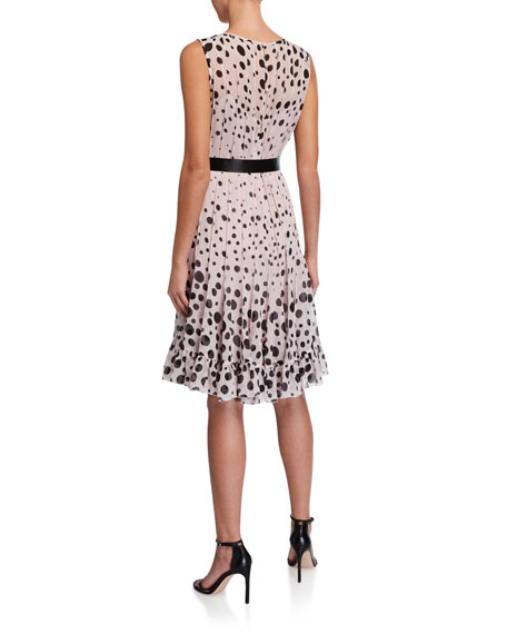 Rickie Freeman for Teri Jon Sleeveless Chiffon Polka Dot Pintuck Dress