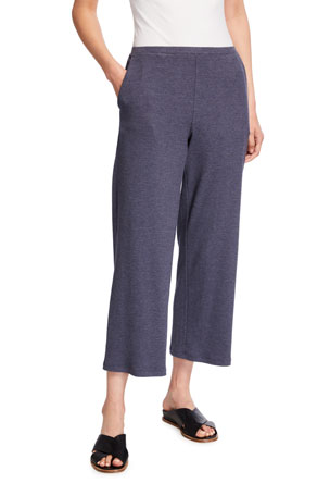 Eileen Fisher Stretch Rib Wide-Leg Cropped Pants