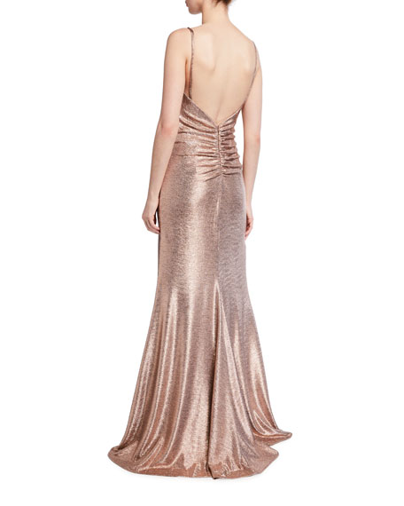 Image 2 of 2: Jovani Spaghetti-Strap High-Slit Metallic Gown