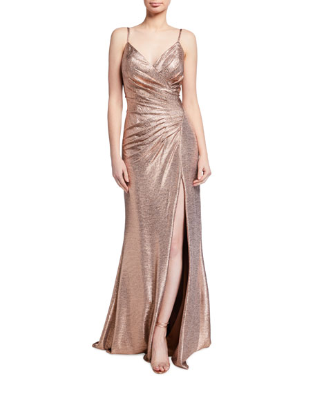 Image 1 of 2: Jovani Spaghetti-Strap High-Slit Metallic Gown
