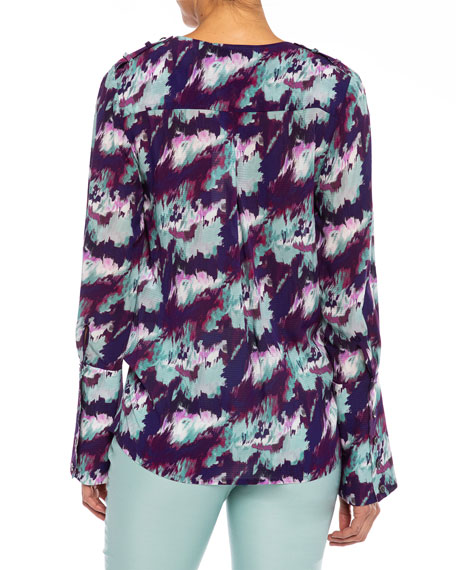 Image 2 of 3: Santorelli Sabil Abstract Georgette Faux-Wrap Blouse
