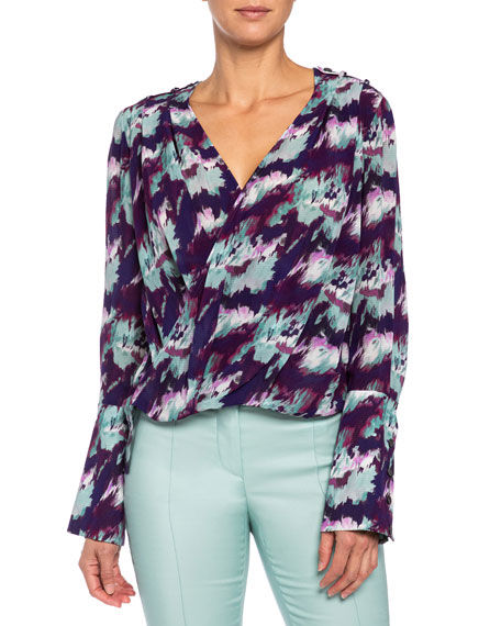 Image 1 of 3: Santorelli Sabil Abstract Georgette Faux-Wrap Blouse