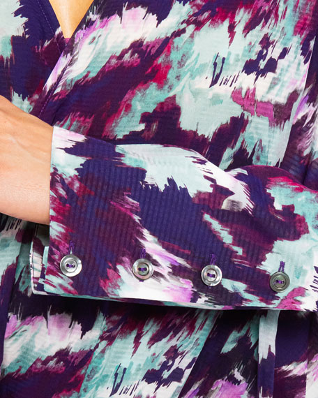 Image 3 of 3: Santorelli Sabil Abstract Georgette Faux-Wrap Blouse