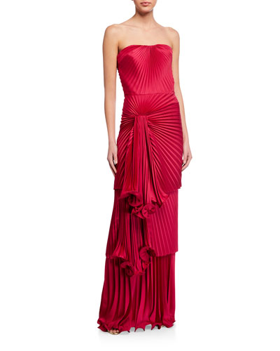 Carmela Strapless Drape-Front Pleated Column Gown