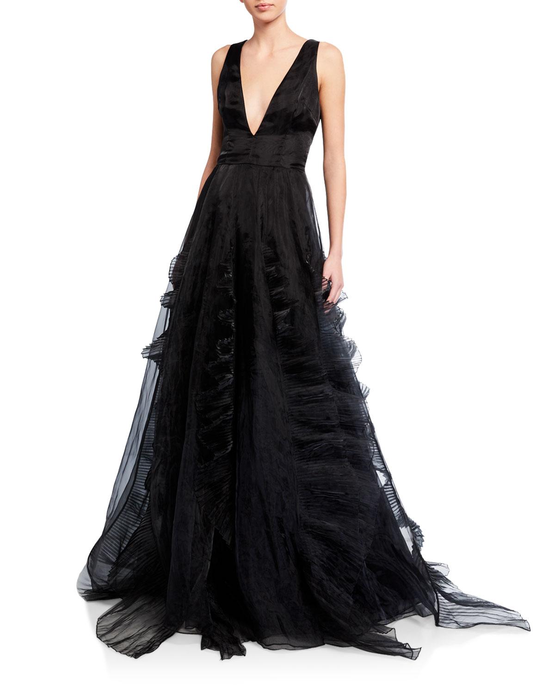 flor et.al Jane Ruffle Organza Ball Gown