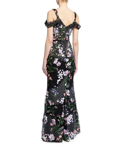 Marchesa Notte Cold-Shoulder Lattice Embroidered Gown w/ 3D Flowers