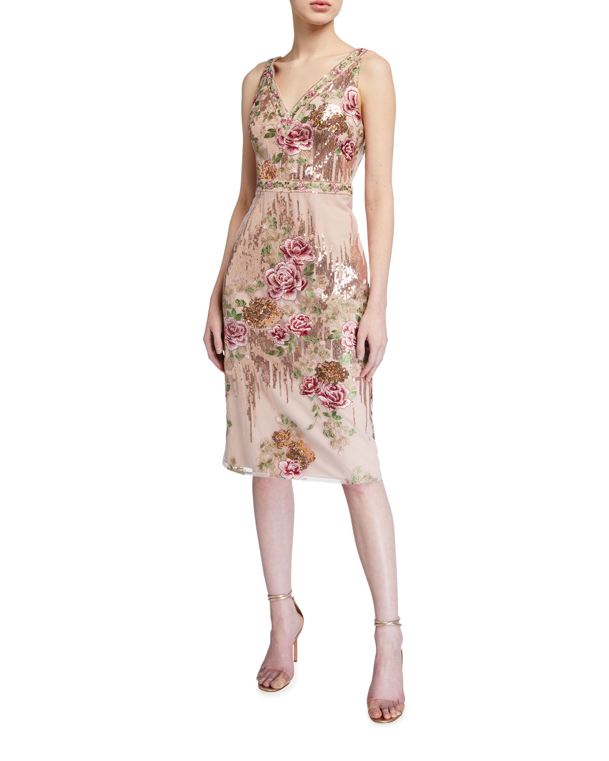 Marchesa Notte Sleeveless Floral Embroidered V-Neck Sequin Sheath Dress