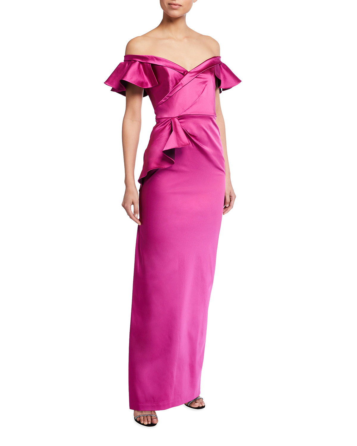 Marchesa Notte Draped Off-the-Shoulder Stretch Satin Gown w/ Side Ruffle