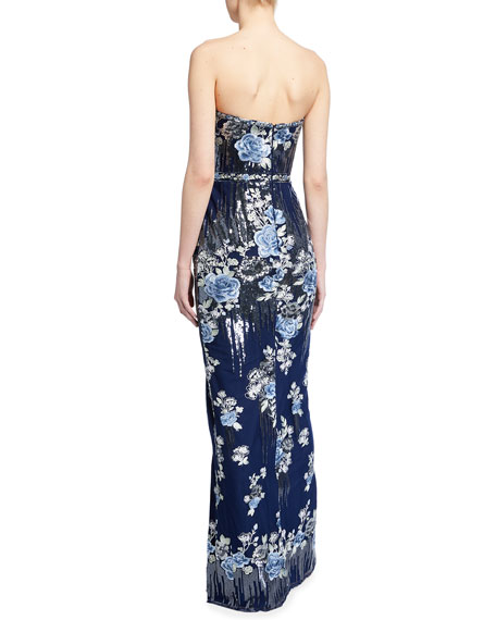 Marchesa Notte Floral Embroidered Sequin Bustier Column Gown