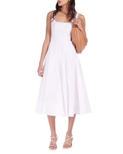 Wells Square-Neck Corset Midi Dress