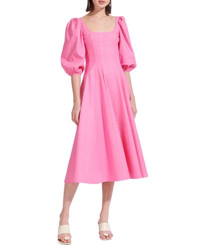 Swells Puff-Sleeve Midi Dress