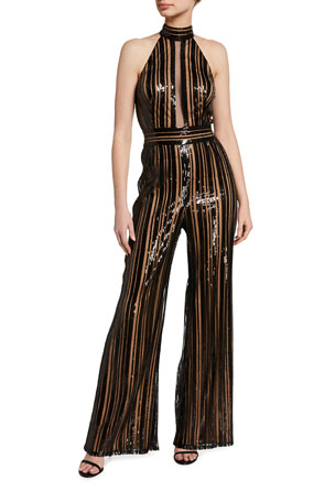 SHO Sequin Striped Sleeveless Jumpsuit