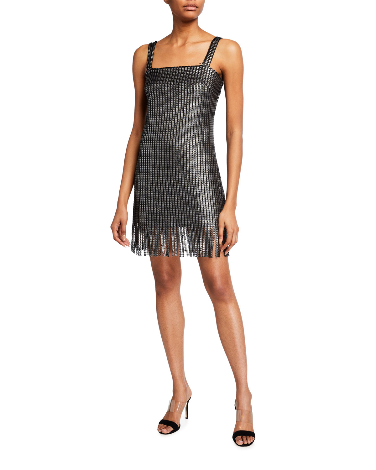 SHO Metallic Mesh Fringe-Hem Sleeveless Dress