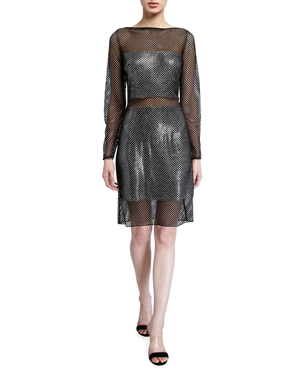SHO Glimmer Net Illusion Long-Sleeve Sheer Dress