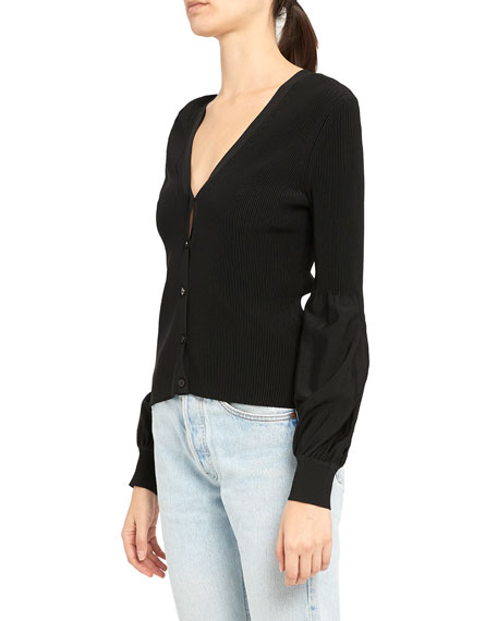 Theory Button-Front Blouson-Sleeve Cardigan