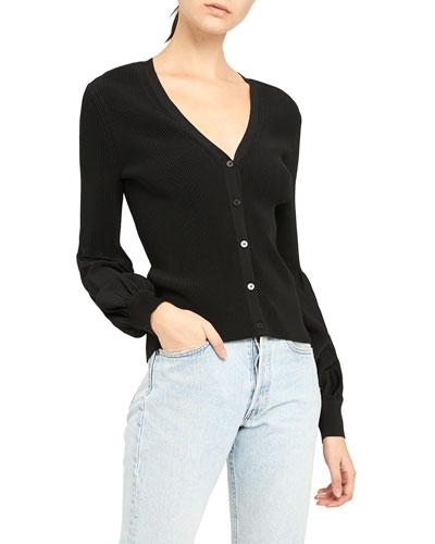 Button-Front Blouson-Sleeve Cardigan