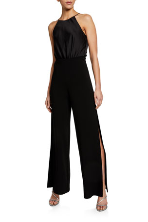 High Branded Wine Burgandy Choker Neck V Plunge Cullote Jumpsuit Ladies Flared