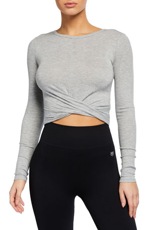 Alo Yoga Cross-Front Long-Sleeve Crop Top