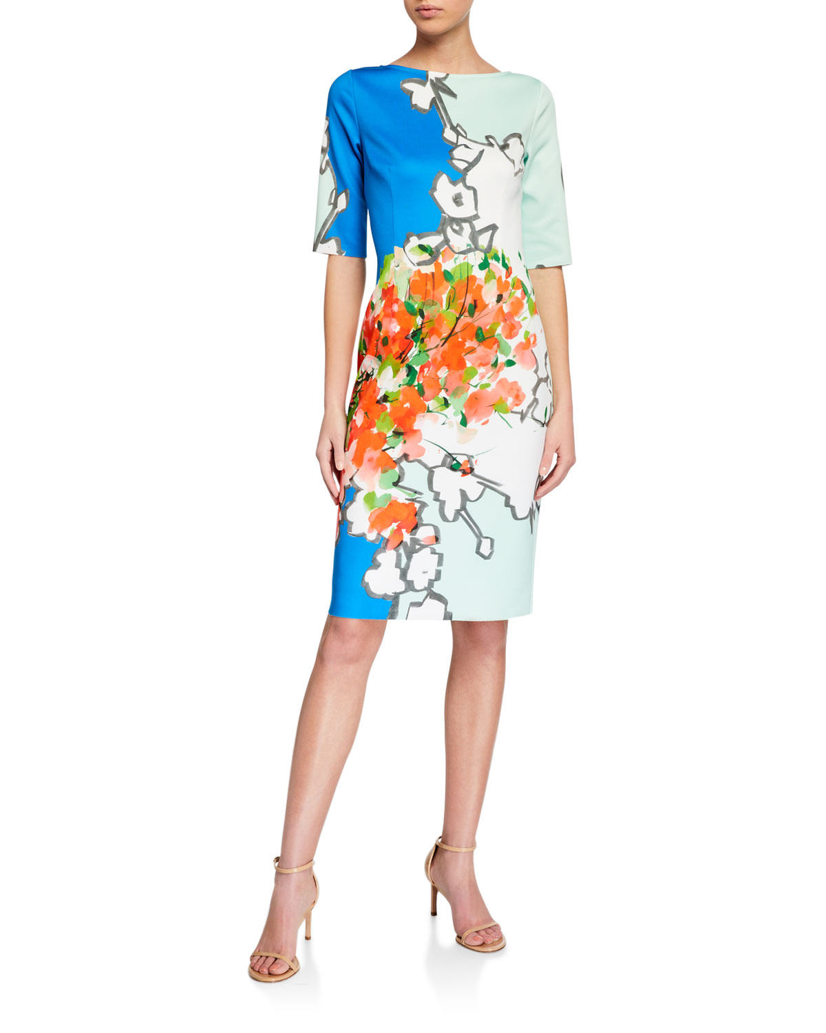 Rickie Freeman for Teri Jon Abstract Print Scuba Sheath Dress