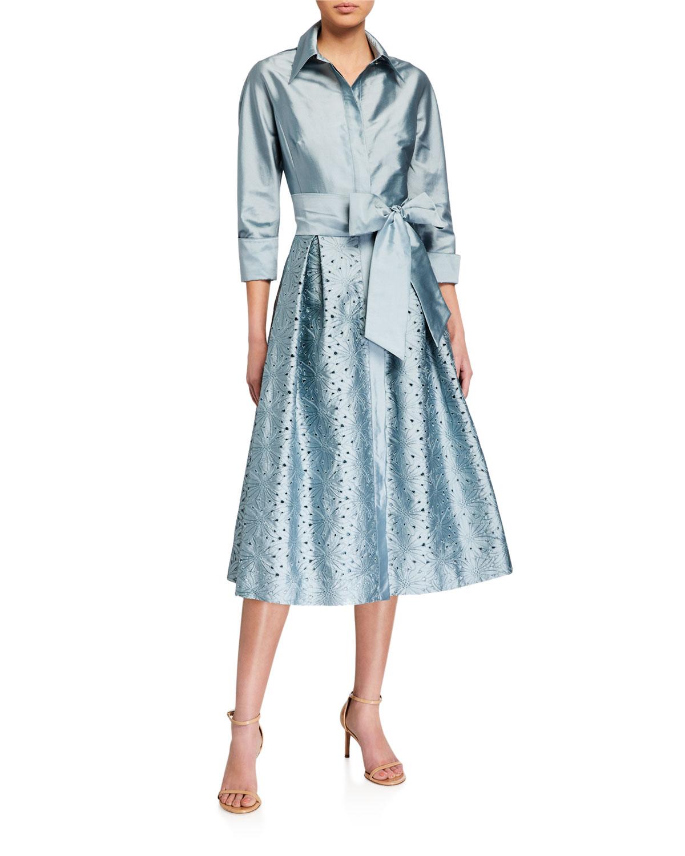Rickie Freeman for Teri Jon Taffeta Shirt Dress w/ Eyelet Skirt
